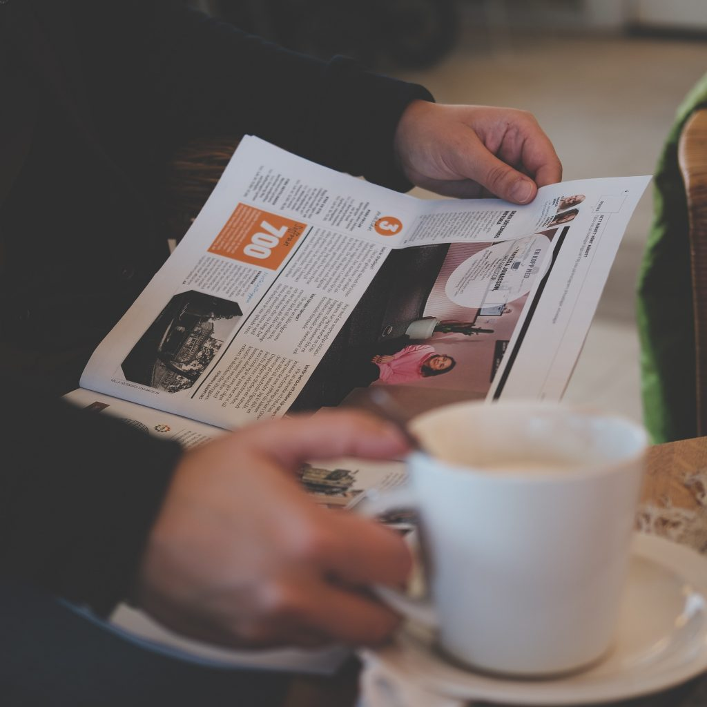 reading with a cup of coffee